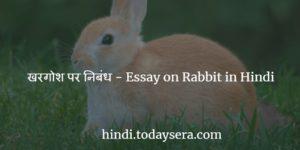 खरगोश पर निबंध - Essay on Rabbit in Hindi